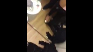 Amazing Chinese girl fucking her boyfriend in a changing room.