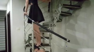 Chinese femdom,licking sexy mistress's high heels footworship